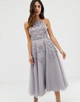Asos Design DESIGN delicate beaded backless midi dress
