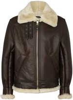 Schott Nyc Classic B-3 Brown Leather Bomber Jacket
