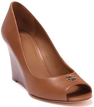 Tory Burch Jolie Peep Toe Leather Wedge Pump