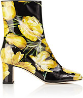 Dolce & Gabbana Women's Tulip-Print Ankle Boots-BLACK, YELLOW