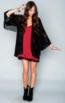 MUMU Freedom Fringe Kimono ~ Velvet Black Frost