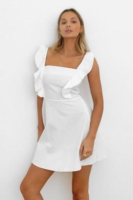 Nasty Gal Womens Live for the Frill Ruffle Mini Dress - White - 6