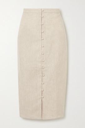 Reformation Fredo Linen Midi Skirt - Beige