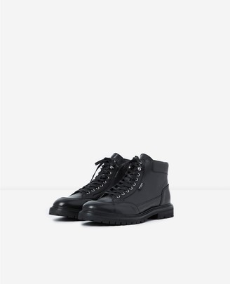 The Kooples Black leather boots w/laces & notched soles