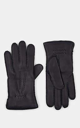 Barneys New York Men's Cashmere-Lined Deerskin Gloves - Navy