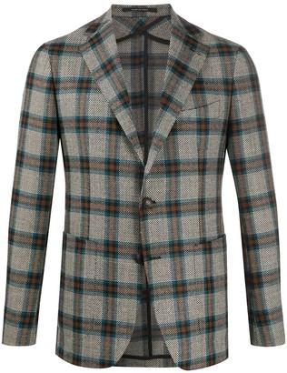 Tagliatore Fine Knit Check Patterned Blazer
