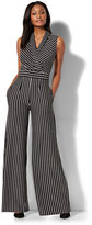 New York & Co. Wrap-Front Jumpsuit - Stripe