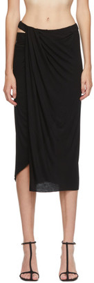 Helmut Lang Black Ruched Jersey Skirt