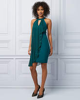 Le Château Knit Halter Neck Ruffle Cocktail Dress