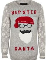 River Island Boys grey hipster Santa Christmas sweater
