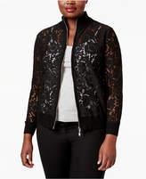 Belldini Plus Size Lace Bomber Jacket