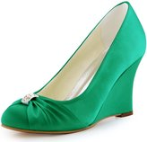 ElegantPark EP2005 Evening Party Wedges High Heel Closed Toe Satin Rhinestones Wedding Shoes US 9