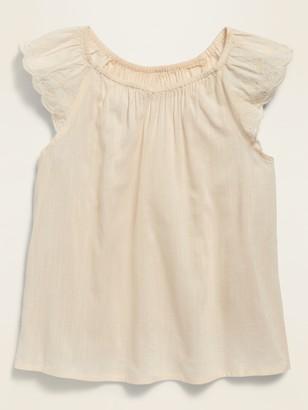 Old Navy Flutter-Sleeve Embroidered Top for Girls