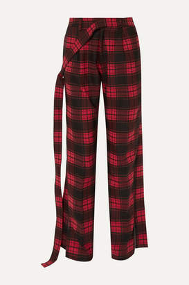 Unravel Project Checked Twill And Denim Straight-leg Pants - Red