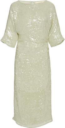 LAPOINTE Sequin Viscose Short Sleeve Draped Waist Dolman Midi Dress