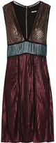 House of Holland Paneled Metallic Textured-knit Dress - UK8