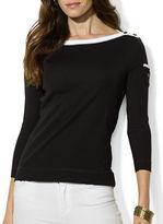 Lauren Ralph Lauren Petite Boat Neck Contrast Pocket Shirt