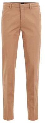 BOSS Slim-fit chinos in monogram-patterned stretch-cotton gabardine