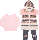 Little Lass Light Coral & Cream Stripe Sweater Set - Infant, Toddler & Girls