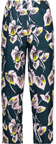 Marni Cropped floral-print cotton and linen-blend straight-leg pants