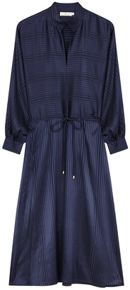 Tory Burch Navy stripe-jacquard stretch-silk midi dress