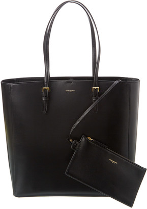 Saint Laurent Boucle N/S Leather Shopper Tote
