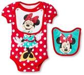 Minnie Mouse Newborn Girls' Disney Minnie Mouse 2 Piece Bib & Bodysuit Set - Red