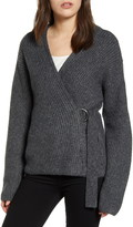 Chelsea28 Asymmetrical Belted Cardigan