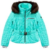 Poivre Blanc Mint Green Belted Ski Jacket with Faux Fur Trim