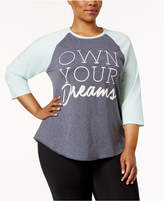 Soffe Curves Plus Size Graphic Baseball Top