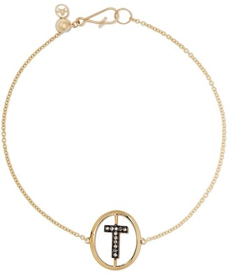 Annoushka 18kt yellow gold diamond initial T Bracelet