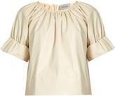 Rachel Comey Vidal short blouson-sleeved faux-leather top