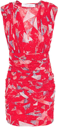 IRO Ruched Printed Silk-blend Crepe De Chine Mini Dress
