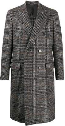 Canali houndstooth check double-breasted coat