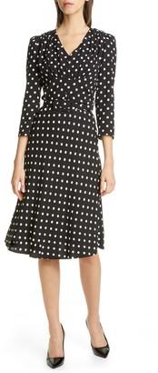 Michael Kors V-Neck Polka Dot Flared Dress