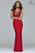 Faviana 7992 Long jersey v-neck stretch dress with sequins