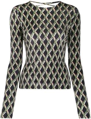 Preen by Thornton Bregazzi geometric-print lace-up top