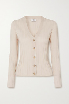 Allude Ribbed Wool Cardigan - Cream