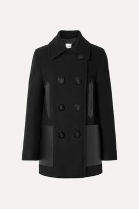 Burberry Double-breasted Leather-trimmed Wool-blend Coat - Black