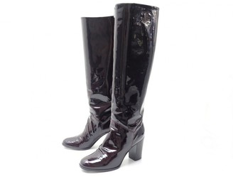 Chanel Burgundy Patent leather Boots
