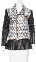 Thomas Wylde Leather-Accented Abstract Print Jacket