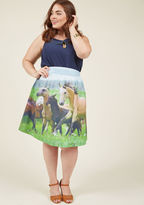 B7073D Incorporate your interest in all things equestrian into your fashion ingenuity by experimenting with styling this colorful skirt - part of our ModCloth namesake label! A photorealistic print of gorgeous horses in a lush meadow uniquely decorates the broad