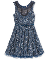 Beautees Embellished Lace Skater Dress, Big Girls (7-16)