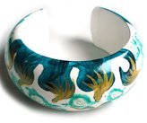 Idin Jewellery - Green hand-painted wave pattern bangle from mango wood