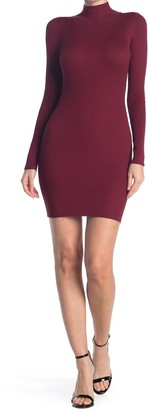 Planet Gold Mock Neck Long Sleeve Ribbed Bodycon Dress
