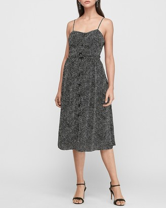 Express Button Front Belted Midi Dress