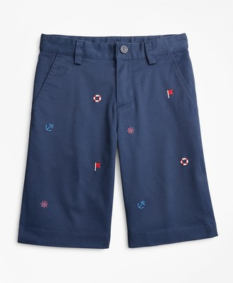 Brooks Brothers Boys Washed Cotton Embroidered Stretch Chino Shorts