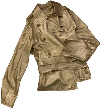 P.A.R.O.S.H. Gold Leather Leather Jacket for Women
