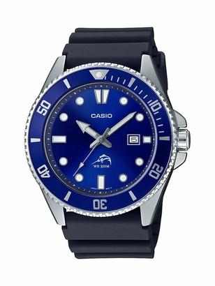 Casio Men's Diver Inspired Stainless Steel Quartz Resin Strap Black