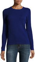 Neiman Marcus Cashmere Basic Pullover Sweater, Medium Blue